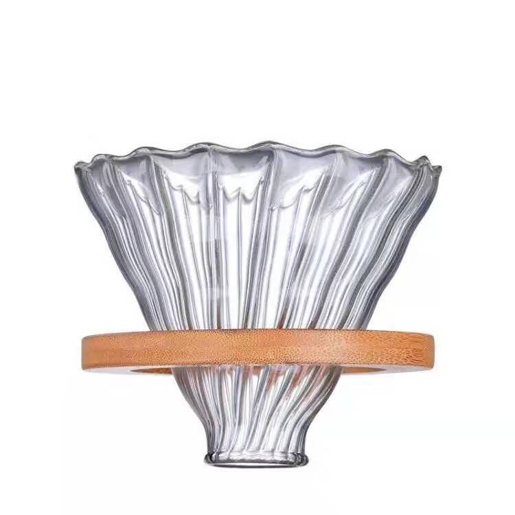 V60  Glass\wooden Coffee Dripper For Hario Style  Glass Coffee Filter Reusable Coffee Filters
