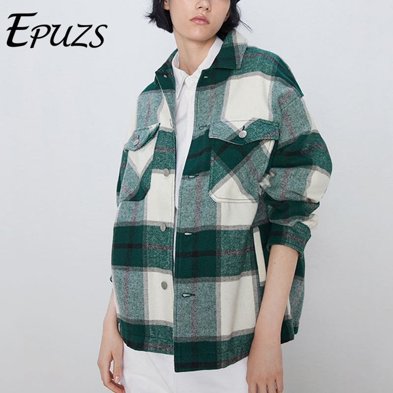Winter Coats And Jackets Women Thick Green Plaid Plaid Jacket Casual Button Office Ladies Jackets Vintage Overcoat Outwear