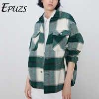 Winter mäntel und jacken frauen dicken grünen plaid plaid jacke casual-taste büro damen jacken vintage mantel outwear
