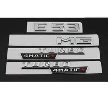 Chrome E53 per emblemi badge parafango AMG TURBO 4MATIC + Trunk per Mercedes W213
