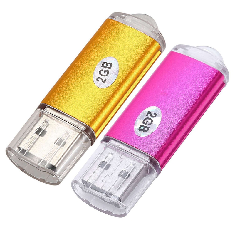 2 Pcs USB 2.0 Flash Pen Drive Disk Memory Stick Storage Capacity:2GB, Rose Red & Golden