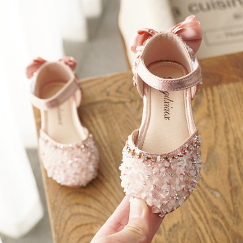 Summer Girls Princess Sandals For Baby Bling Shoes Children Casual Shoes Sequins Leather Dress Shoes Non-slip Kids Dance Sandals 2019 bling kids girls wedding dress shoes children princess shoes bowtie purple leather shoes for girls casual shoes flat
