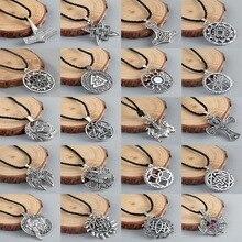 QIAMNI мужские викинги Valknut славянский Амулет ожерелье женские круглые языческие тибетские религиозные этнические древнескандинавские ювелирные украшения подарочный Шарм
