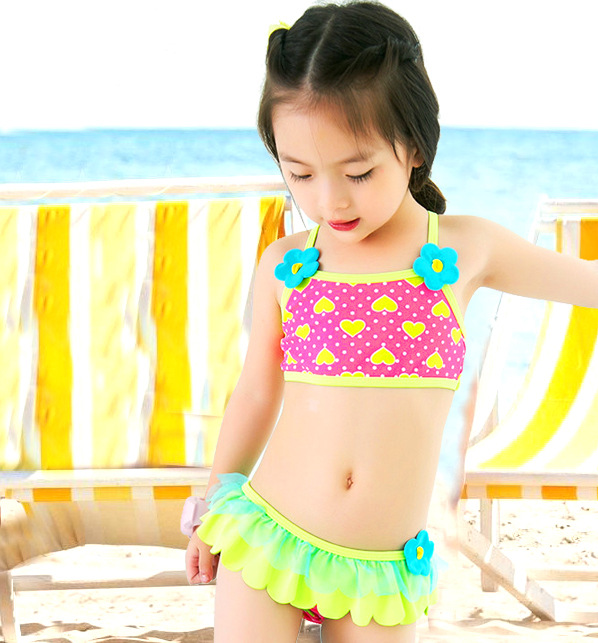 Special Offer Closeout KID'S Swimwear Baby Small Children GIRL'S Lotus Leaf Flower Points Cute Split Type Hot Springs Swimwear