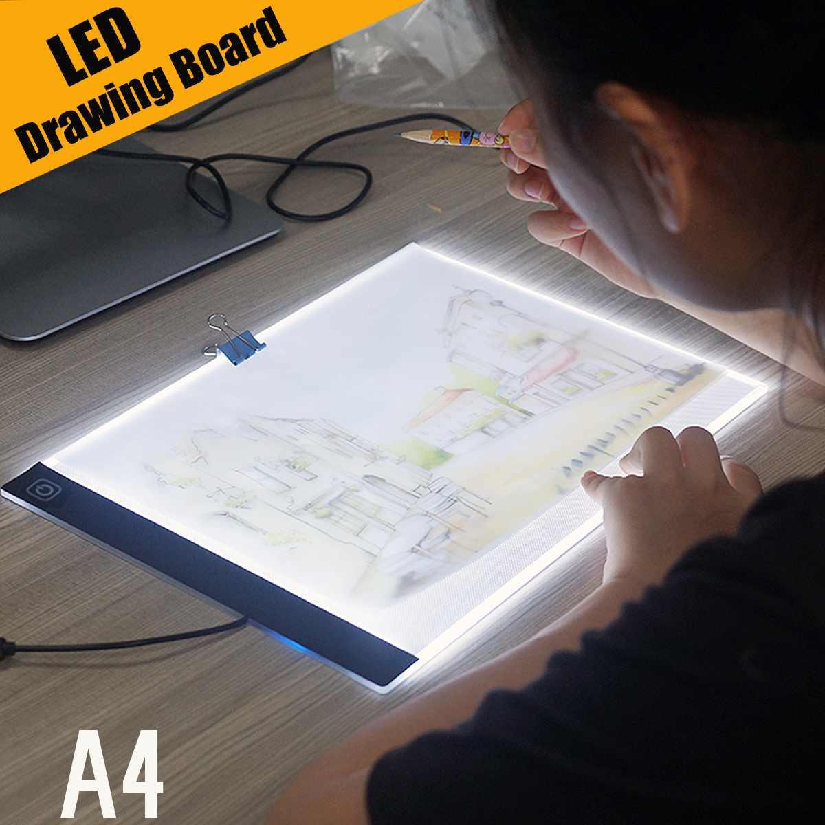 >Ultra Thin A4 LED Light Pad Artist Tattoo Stencil Board Light Box Table Tracing Drawing Board Pad <font><b>Copy</b></font> Painting Drawing Board