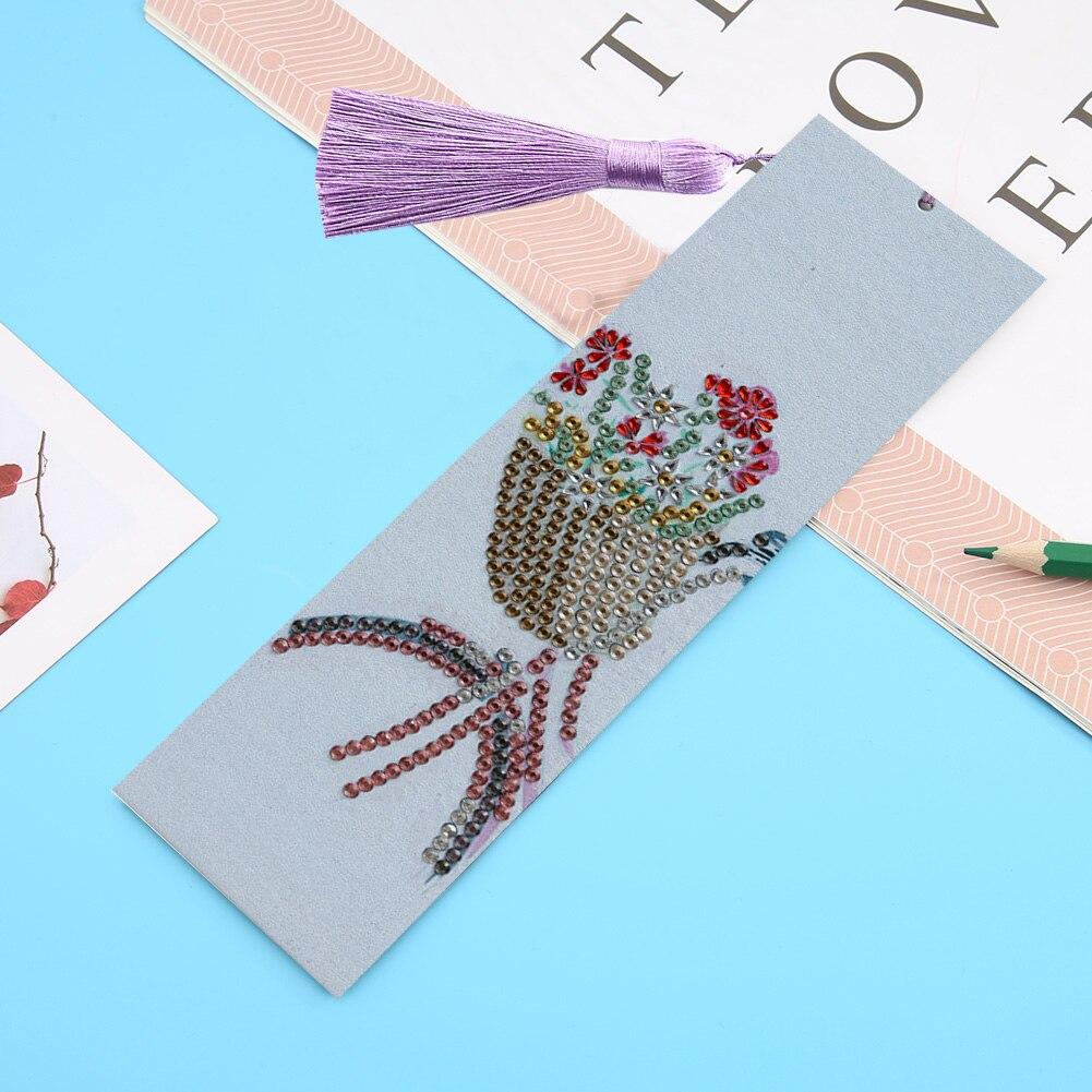 Cuadro de diamantes 5D marcador de libro de bicicleta diamantes bordado artesan a libro con borla