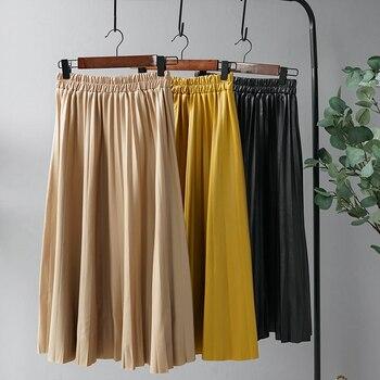 Woman Pleated Skirts 2019 Black Pu Leather Midi Skirt Elastic Waist A-line Winter Skirt Streetwear 1