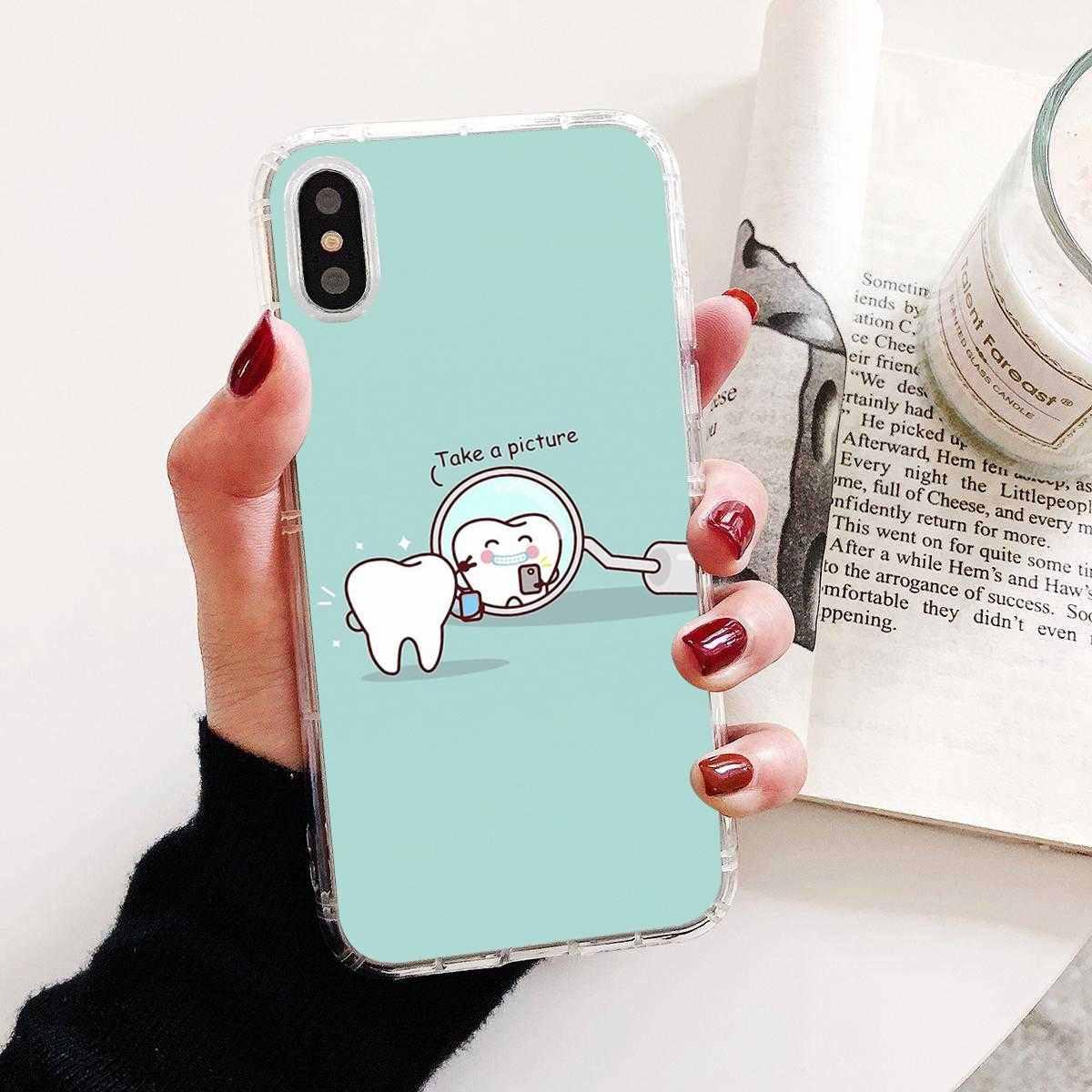 Silikonowa obudowa do Samsung Galaxy J1 J2 J3 J4 J5 J6 J7 J8 Plus 2018 Prime 2015 2016 2017 Cartoon dentysta Dental koronowany zębów