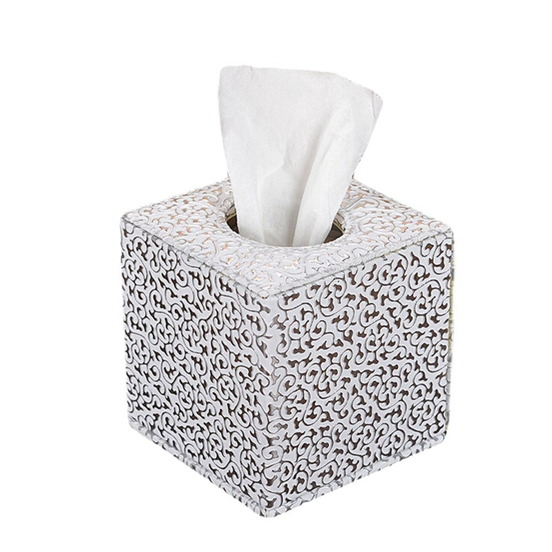 Tissue Box Tissue Holder RectangularCover Silver Suitable For Hotel And Guest Houses Size 13.5x13.5x13.5cm (Silvery)
