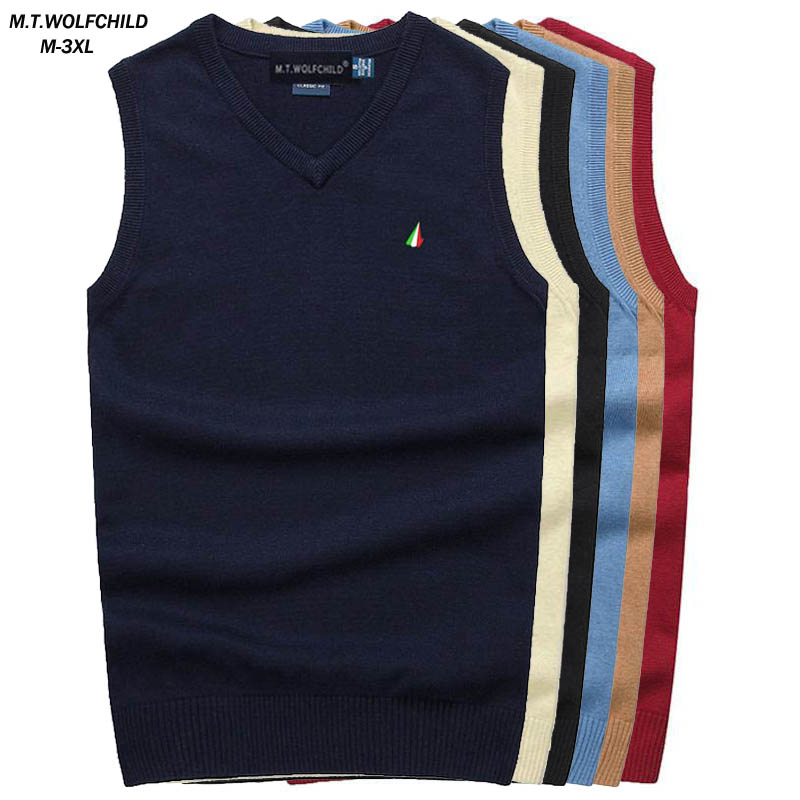 100% Cotton High Quality Spring Autumn Men's Sleeveless Sweaters Vest Casual Pullovers Knitted Vest Fashion Slim Male Tops M-3XL