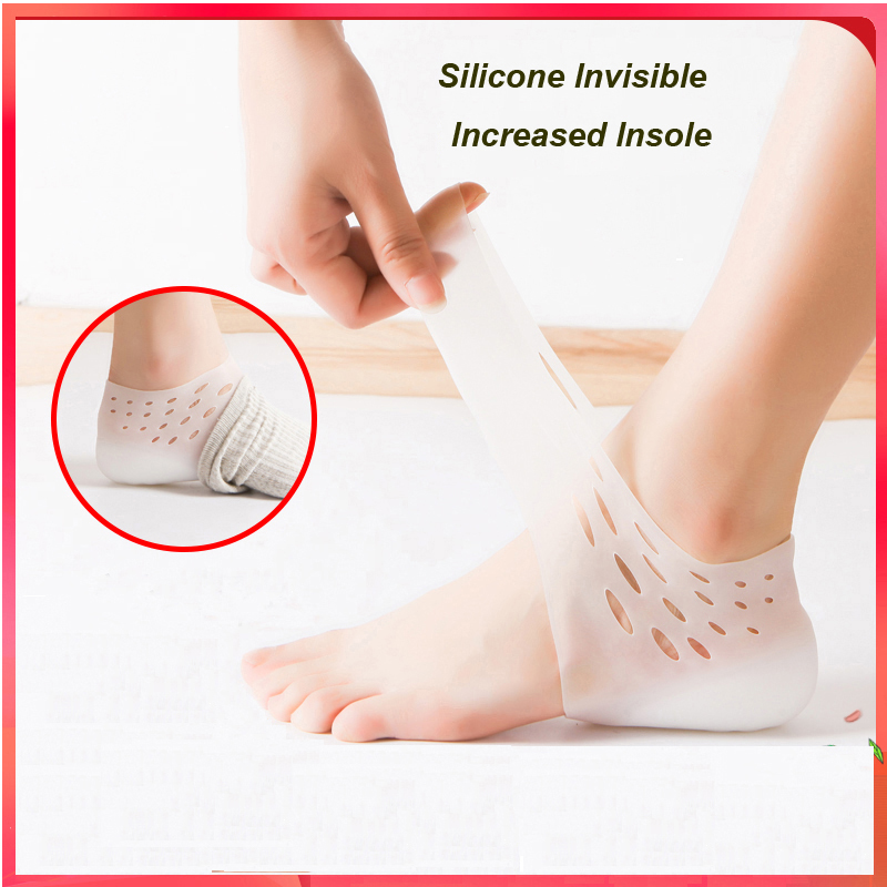 1Pair Invisible Height Increased Insole Wearable Heel Men Women Silicone Heel Lift Insole