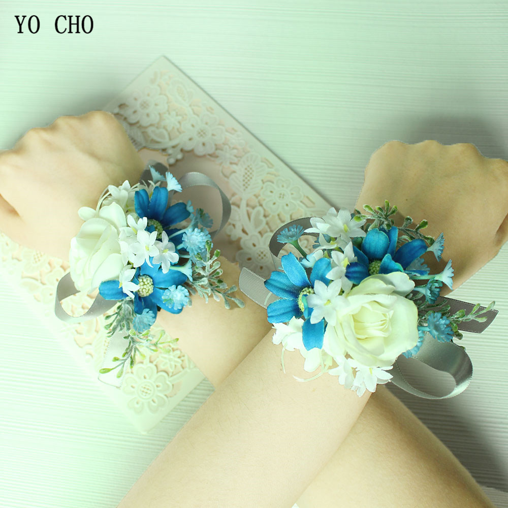 YO CHO Groom Boutonniere Corsage Silk Roses Women Brooch Flowers Wedding Corsage Pin Wedding Wrist Corsage Bracelet Bridesmaids