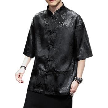 Plus rozmiar mężczyźni tradycyjna chińska odzież węzeł guzik pół rękawa lato Qipao bluzka Vintage Streetwear Cheongsam bluzka 5XL tanie i dobre opinie Zeeshant Akrylowe NYLON POLIESTER CN (pochodzenie) Sukno Traditional Chinese Shirt 2 Colors M-5XL Male Summer 12 Years Old or more