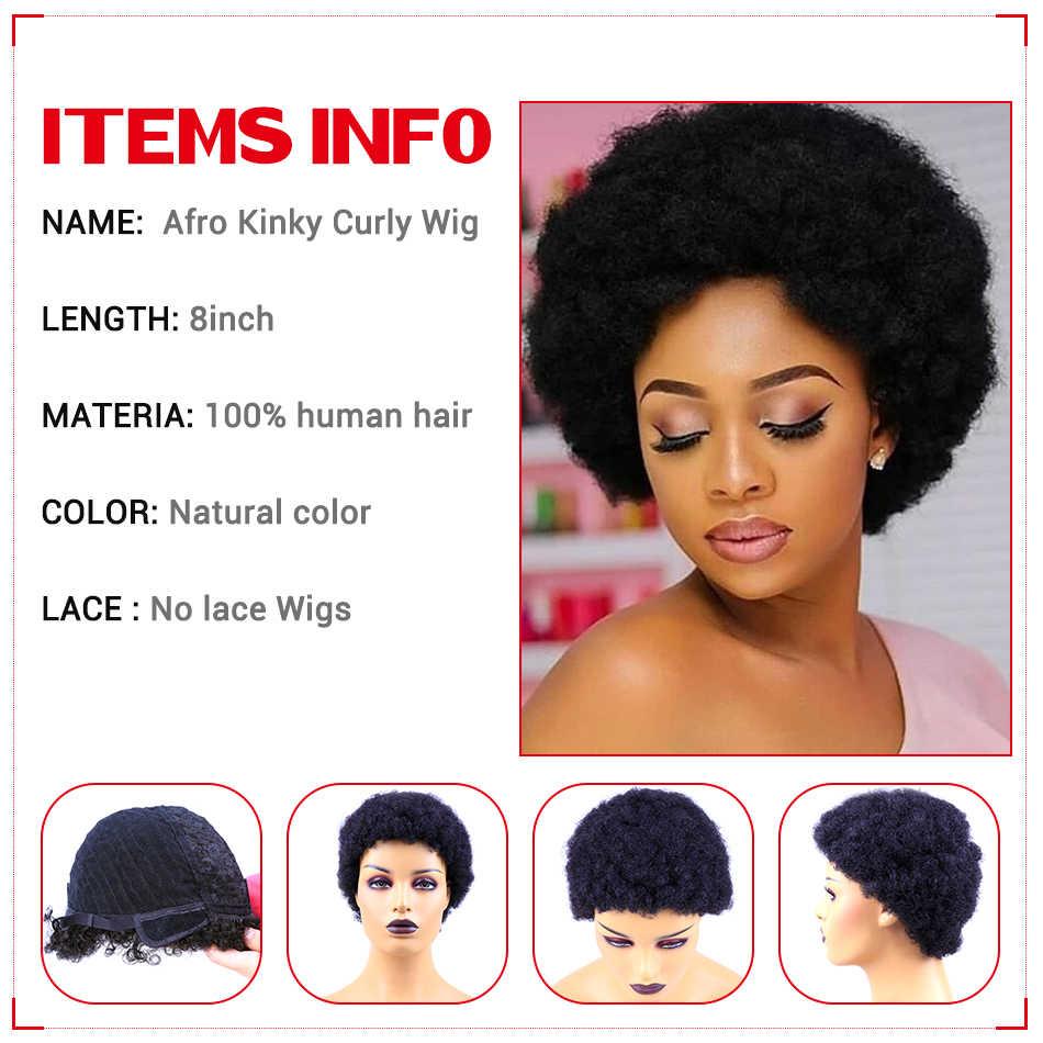 Kısa insan saçı peruk Afro Kinky kıvırcık saç peruk ucuz insan saçı peruk brezilyalı saç peruk siyah kadınlar için ücretsiz brezilya