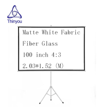 Thinyou 100 Inch 4:3 Portable projector screen Matte White Fabric Fiber High Definition Bracket Screen with Stable Stand Tripod
