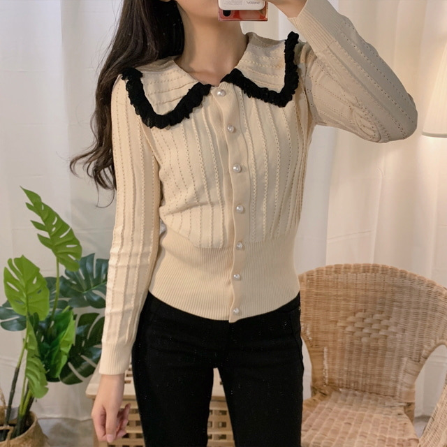 GRUIICEEN Hollow Out Korean Knitted Cardigans Ruffles Turn Down Collar Sweater Coat New Autumn GY2019204
