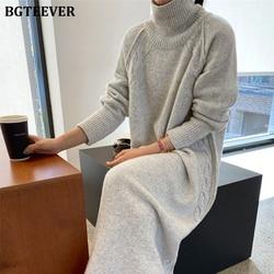 BGTEEVER Turtleneck Full Sleeve Oversized Knit Dress Female 2020 Winter Vestidos Casual Thick Twisted Women Long Sweater Dress