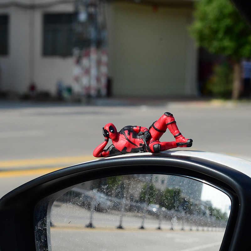 Balançando A Cabeça Da Boneca carro Ornamentos Deadpool Marvel Action Figure Modelo Sentado Anime Mini Boneca Decoração Do Carro Acessórios Do Carro