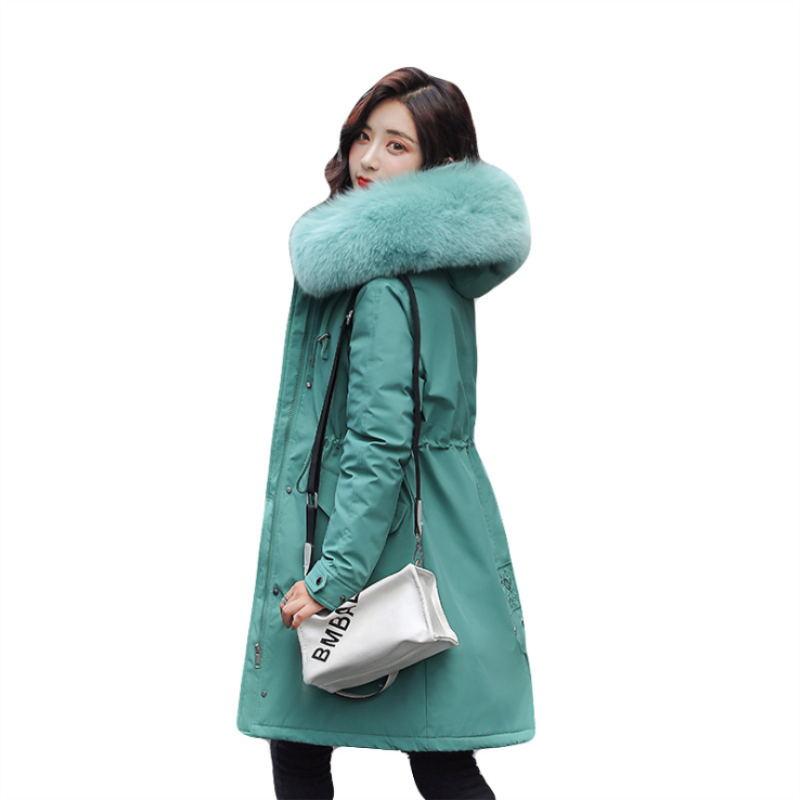 Зимние парки 2019 зима 30 градусов женские парки пальто с капюшоном меховой воротник толстая секция теплые зимние куртки зимнее пальто куртка - 6