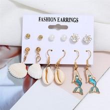 HOCOLE Bohemian Shell Cowrie Earrings Set For Women Fashion Statement 2019 Pearl Crystal Stud Earring Female Wedding Jewelry
