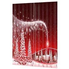 New Star Print Full Blackout Hook Christmas Window Curtain New Year Christmas Decorations Curtains For Living Room Bedroom Decor