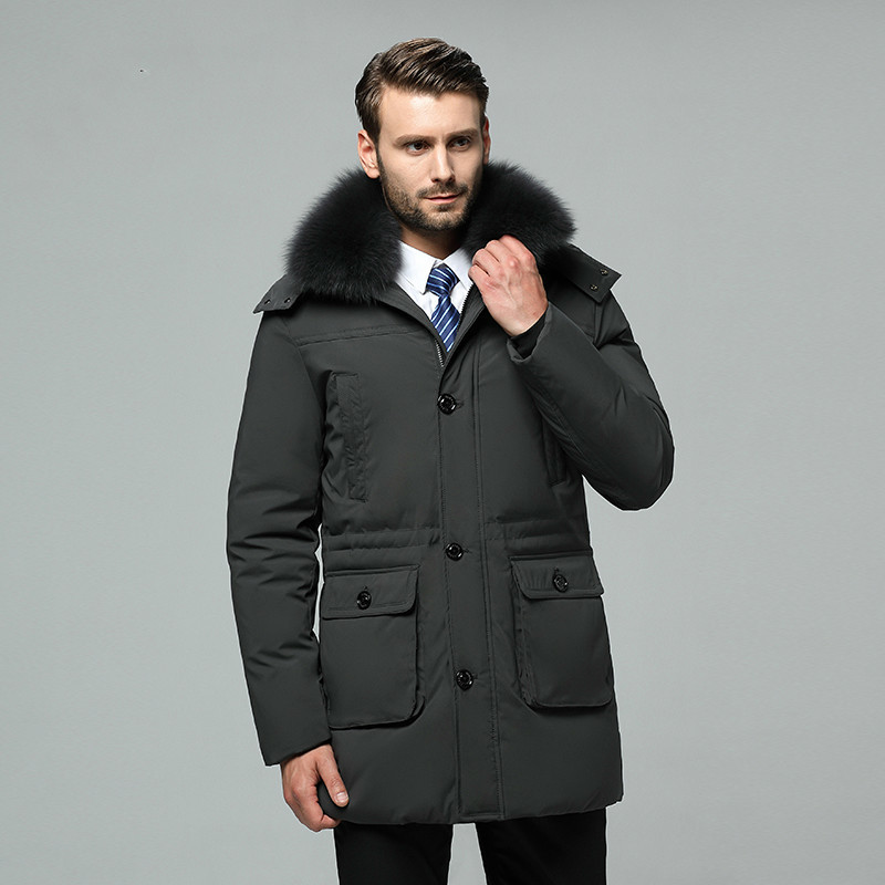 2020 New Men's Down Jacket Winter Coat Real Fox Fur Collar Plus Size Long Duck Down Puffer Jacket Men 186 KJ3048