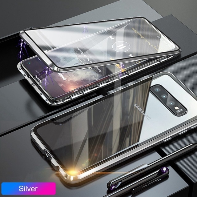 Metal Magnetic Case For Samsung Galaxy S8 Plus S9 S10 5G S10E 360 Degree Double Sided Tempered Glass Phone Cover Protector Coque