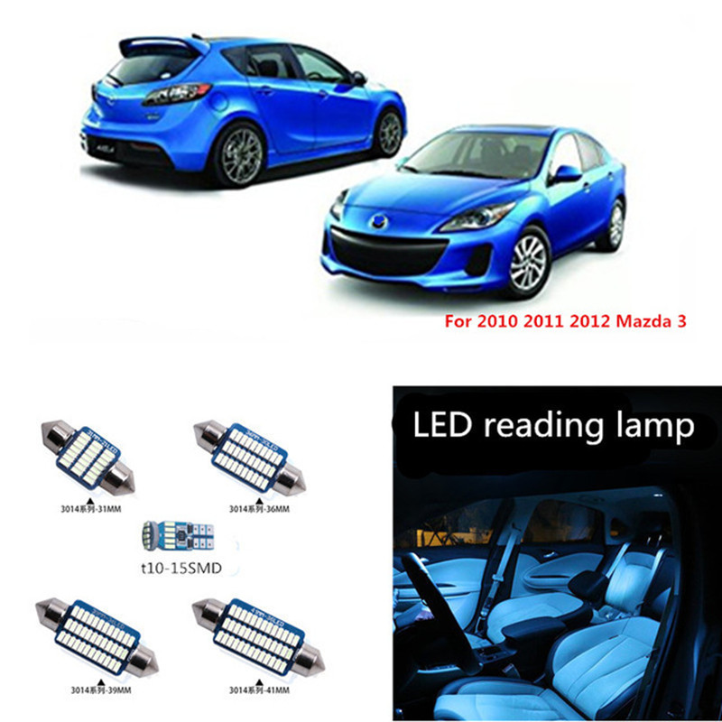 9Pcs Car <font><b>LED</b></font> Light <font><b>Bulbs</b></font> Interior Light Kit For Mazda 3 Sedan 2010 2011 2012 Map Dome Trunk Reading License Plate Light White image