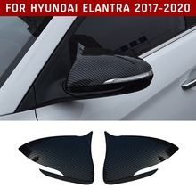 pcmos 2Pcs/set ABS Carbon Fiber Style Rearview Mirrors Cover Trim For Hyundai Elantra 2017 2020 Exterior Parts Stickers Black