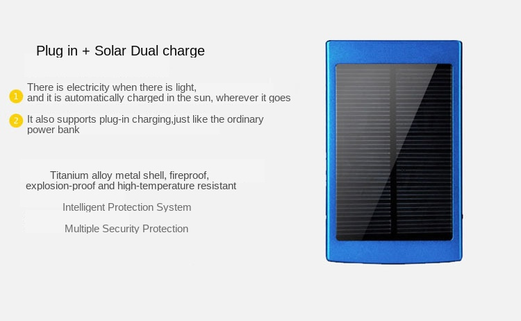 30000mAh Waterproof/Dustproof Solar Power Bank with Double USB Output and LED Flashlight 1