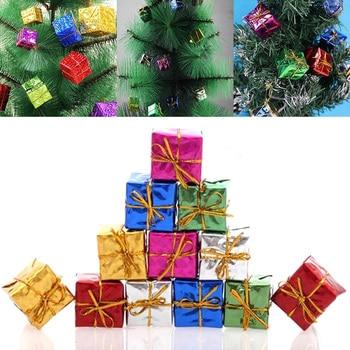 12pcs Hrismas Tree Ornament Mix Color Mini Gift Box Christmas Tree New Year Decorations Wholesale Ha