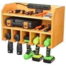 Wooden Tool Storage Wall Mounted Power Tool Storage Cabinet Organizer Cordless Drill Holder Shelving Organiser Tidy Shelf