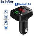 JaJaBor Bluetooth 5,0 автомобильный комплект FM-передатчик беспроводной громкой связи аудио приемник автомобильный MP3 музыкальный плеер с двойным USB ...