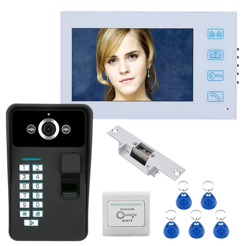 7Inch TFT Fingerprint Recognition RFID Password Video Door Phone Intercom Doorbell (US Plug)