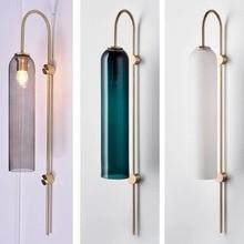 Nordic Modern Wall Light Simple Creative Blue Glass Tube Living Room Wall Lamp Art Bedside Bedroom Study Aisle Pendant Lamp