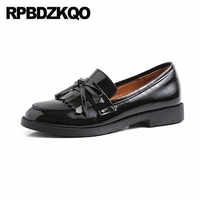 loafers slip on patent leather red genuine bow unique shoes flats women oxford with tassel 2019 fringe italian designer black
