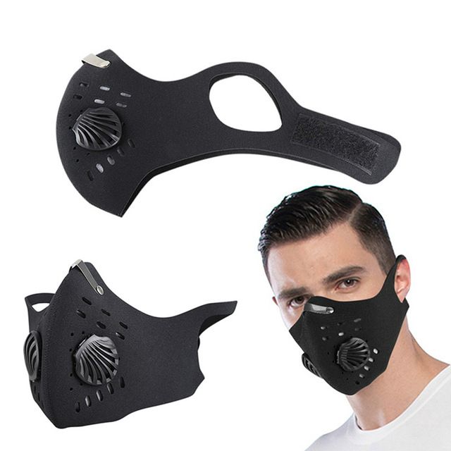 POWECOM Mouth Mask PM2.5 Filter Windproof with Breathable Valve Mouth-muffle Anti-foga Dustproof Flu Reusable Cycling Face Mask 5