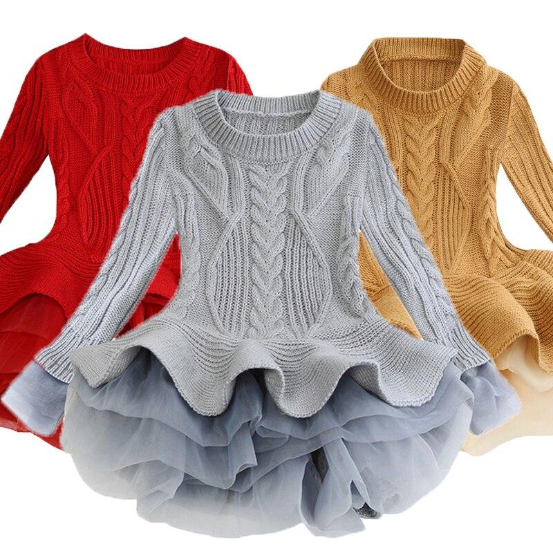 Children Dress 2021 Sweater Princess Dress Kids Dresses For Girls Costume Birthday Party Ball Gown Kids Clothes Girls Vestidos 1