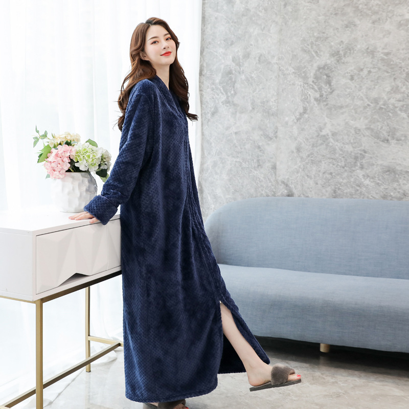 Flannel Lady Sleepwear Robe Kimono Gown Warm Long Bathrobe Gown Casual Full Nightgown Coral Fleece Zipper Unisex Homewear