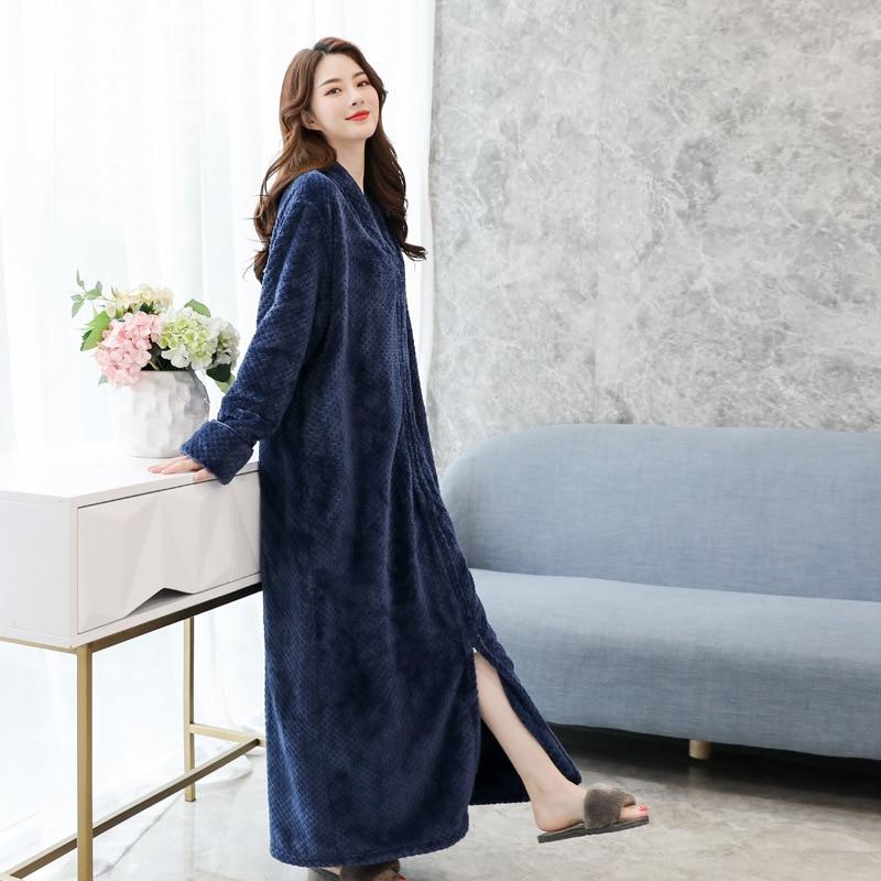 Flannel Lady Sleepwear Robe Kimono Gown Warm Long Bathrobe Gown Casual Full Nightgown Coral Fleece Zipper Unisex Homewear
