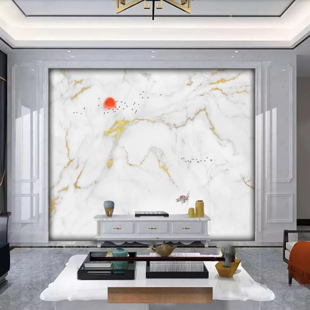Milofei Manufacturers Custom Modern Jazz White Marble Pattern Background Wallpaper Mural