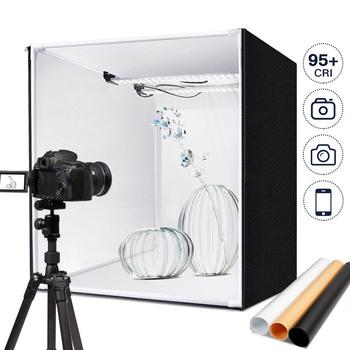 60*60 cm budka foto M60 fotografia Studio Lightbox 48W oświetlenie do fotografii namiot Tabletop strzelanie miękkie pudełko ze ściemniaczem tanie i dobre opinie SAMTIAN CN (pochodzenie) 60*60*60cm Pakiet 1 Polyester fabrics 5500K Max 15000LUX 126 PCS photo box light box light photo lightbox soft box