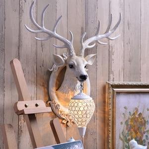 Image 2 - 사슴 Antler 산업 디자인 빈티지 벽 램프 농가 부엌 바 벽 장식 빛 배경 머리맡 경적 램프 비품