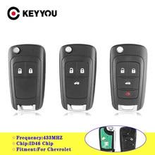 KEYYOU Remote Key Auto Alarm Für Chevrolet Cruze Malibu Aveo Funken Segel 2/3/4 Tasten 433MHz Fob ID46 Chip Mit HU100 Klinge