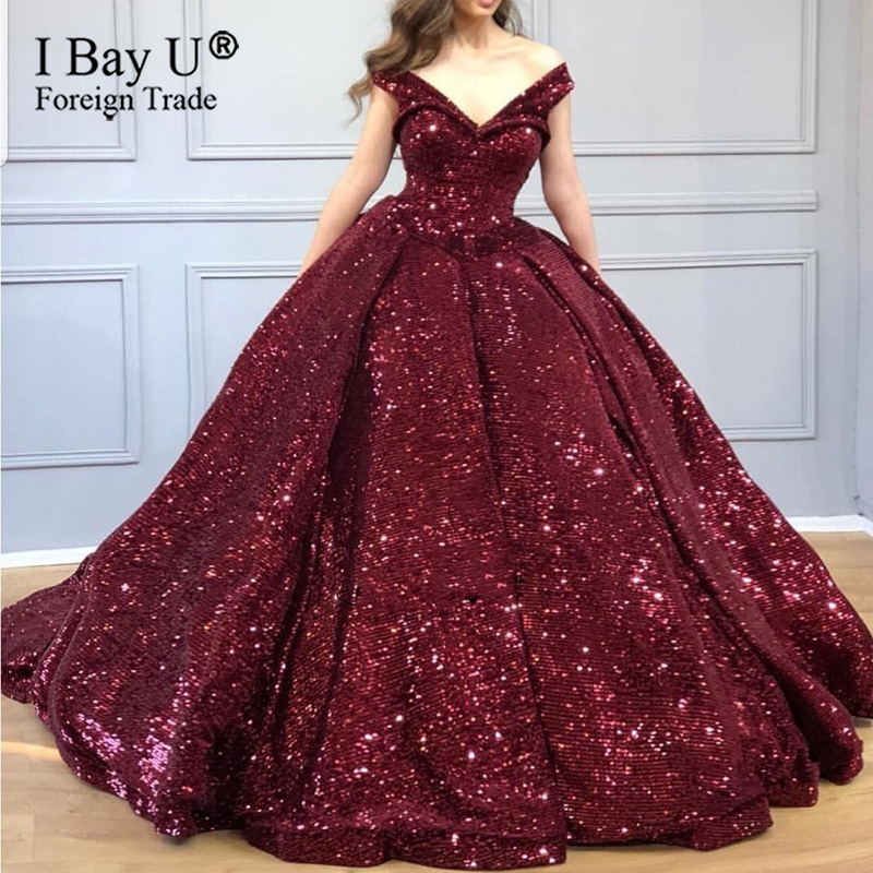 Real Sample Off Shoulder Evening Dress Wine Red Puffy Arabic Party Gowns Luxury Sweetheart Sequins Long Evening Dress