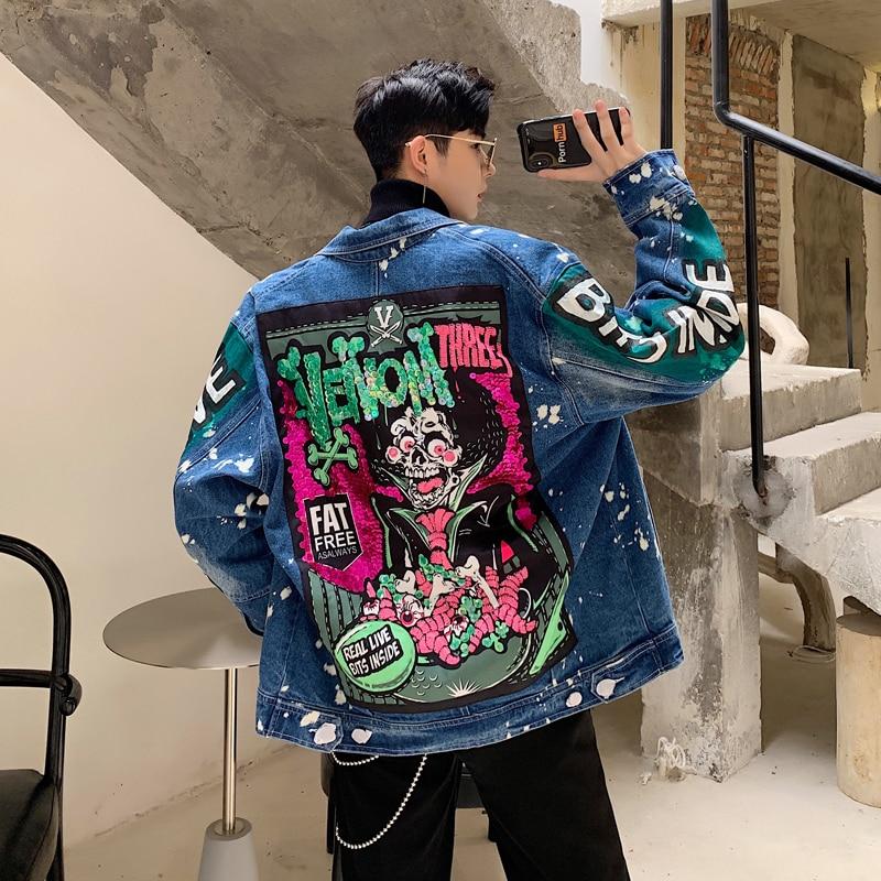 YASUGUOJI Men Streetwear Graffiti Appliques Printed Jeans Jacket Hipster Holes Loose Hip Hop Motorcycle Casual Denim Jackets