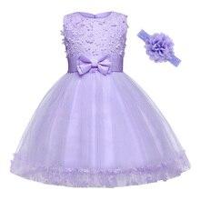 AmzBarley Floral Girls Dress Appliqués Princess tutu headbands kids Wedding Birthday Party Ball Gown Toddler girls clothes