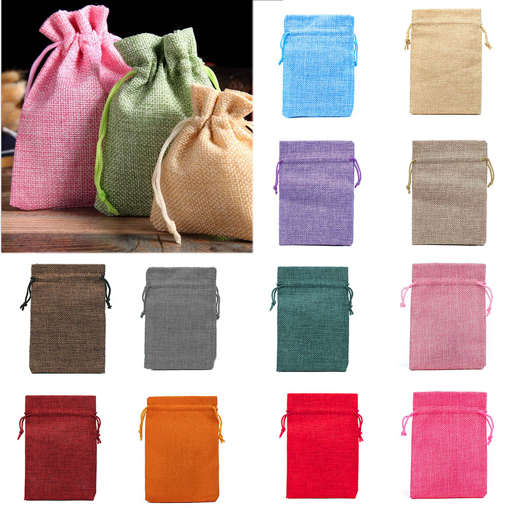 1PCS Drawstring Gift Bags Natural Burlap Hessia Jewelry Pouch Jute Gift Bags Jewelry Packaging Wedding Bags  Favor Bags Pink