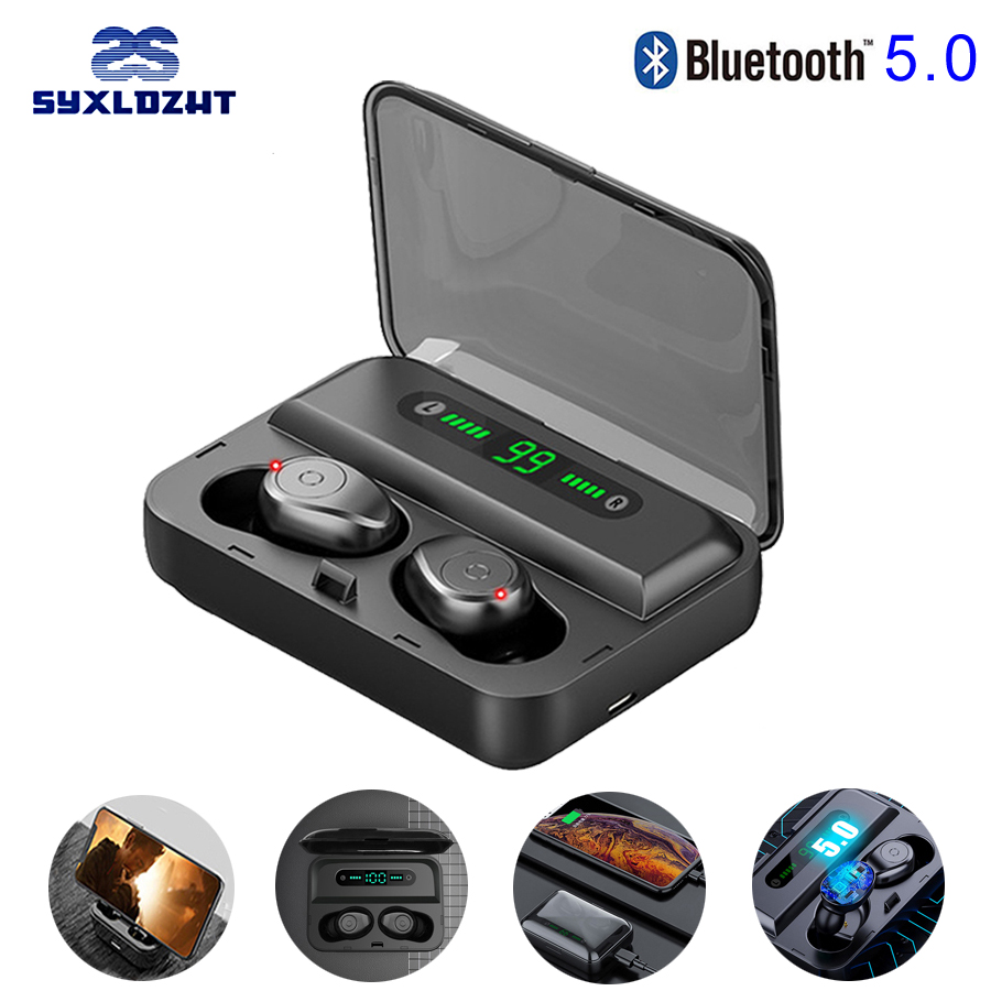 V5.0 TWS Wireless Bluetooth Earphone HD 8D Stereo Earbuds Noise Canceling Gaming Headset With Microphone 1500 MAh Power Bank