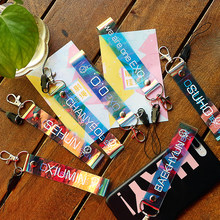 KPOP EXO Transparent Laser Lanyard Name Cute Keyring Keychain Cellphone Backpack Pendant(China)